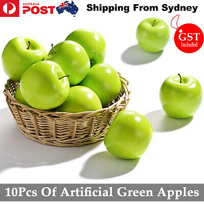 10X Artificial Green Apple Apples Fake Fruit Home Party Wedding Shop Decoration