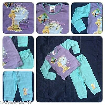 Disney Fairies Tinkerbell Tink Pyjamas PJs Set Nightwear Lilac Girl Kids Girl
