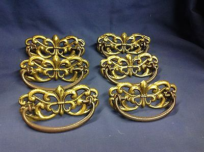 6 Early Reclaimed Brass/ metal Drawer  Pulls V112