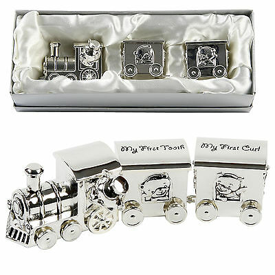 Personalised Silver Plated First 1st Tooth & Curl  Teddy Train Christening Gift