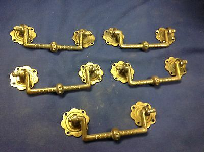 5 Early Reclaimed Brassl Drawer  Pulls V115