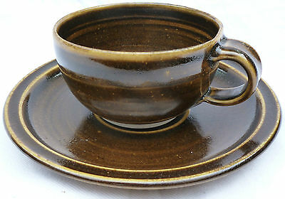 Large Size Studio Pottery Stoneware Cup and Saucer.
