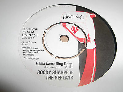 """ROCKY SHARPE AND THE REPLAYS """" RAMA LAMA DING DONG """" 7"""" SINGLE 1978 EXCELLENT"""