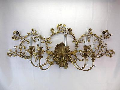 Large 1950's Gilt 5-Light Sconce Italian, Florentine, Floral, Tole, Shell