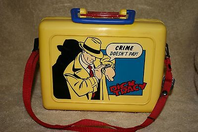 Vintage Dick Tracy Yellow Plastic Lunchbox Red Strap & Name Plate - Rare