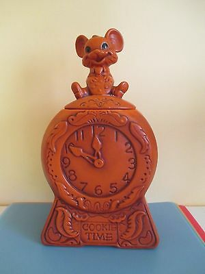 """Vtg 1960 Twin Winton COOKIE JAR """"Hickory Dickory Dock Mouse Ran Up Clock"""""""