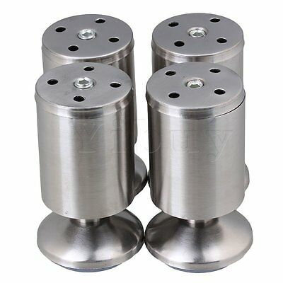 4 Pcs Kitchen Cabinet Metal Furniture Legs Feet Stainless Steel Slivery