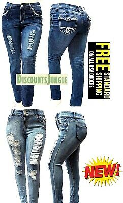 NEW WOMENS PLUS SIZE Stretch Distressed Ripped BLUE SKINNY DENIM JEANS PANTS