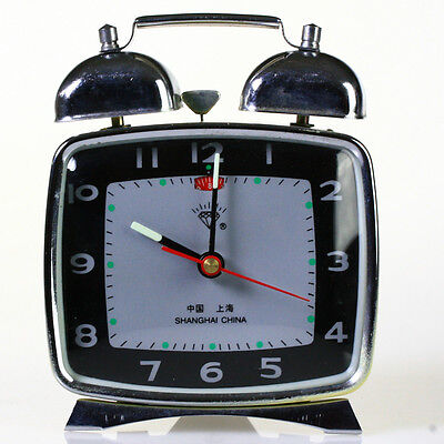 NEW OLD STOCK NOS VINTAGE Shanghai China alarm clock windup black square bell