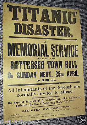 TITANIC Memorial Service Poster Ship Rememberance Silver Collection Steam Liner