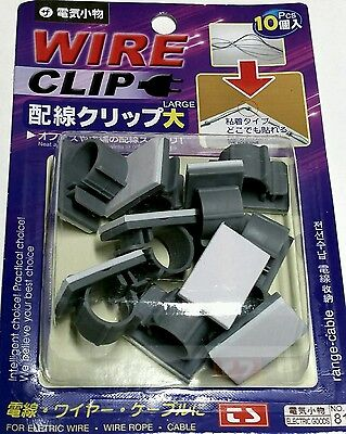 Cord Wire Cable Clips Plastic Self Adhesive 10 pcs Set Cable Organizer - NEW