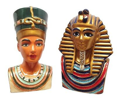 King Tut Pharaoh and Nefertiti Ancient Egyptian Salt Pepper Shakers Ceramic Mini