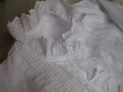 "ANTIQUE FRENCH NIGHT DRESS - Broderie Anglaise - WHITE MONOGRAM ""BR"""