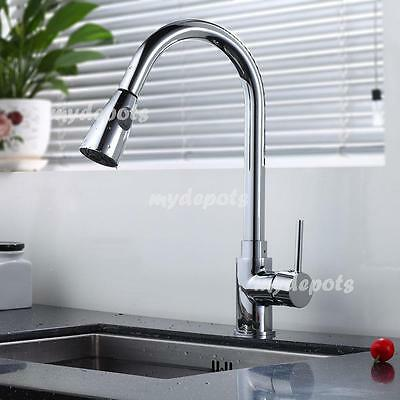 Kitchen Sink Faucet Chrome Pull-Out Spray Swivel One Handle New