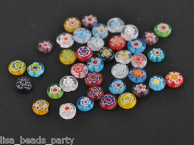 8mm Rondelle Flat Lampwork Glass Millefiori Jewelry Making Loose Beads Mixed Hot