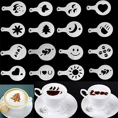 16X Lovely Cappuccino Coffee Barista Stencils Template Strew Pad Duster Spray