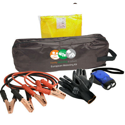 Essential Emergency Breakdown Kit With Hi Vis Vest Jump Leads Heavy Duty Gloves