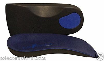Sole Control Classic Blue 3/4 length Orthotic Insoles, Arch Support and Heel Cup