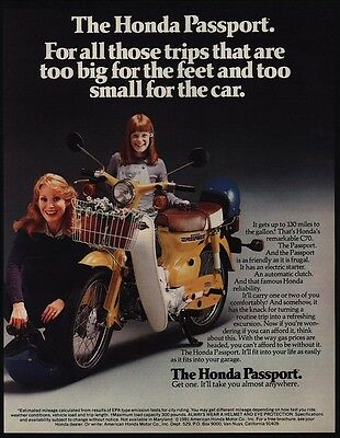 1981 HONDA PASSPORT C70 Scooter Motorcycle w/ Basket - Mom & Daughter VINTAGE AD