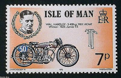 "Wal Handley 3.48hp ""Rex-Acme"" Winner 1925 Junior T.T. on 1975 stamp - U/M"
