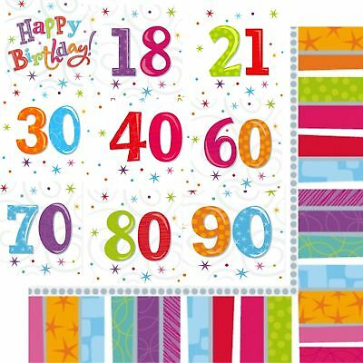 18 21 30 40 50 60 70 80 90 th Birthday Napkins Tableware Party Decorations