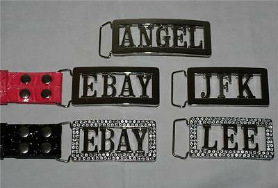 PERSONALIZED LETTERS INITIALS NAMES Stainless Steel or Crystals BELT BUCKLE New