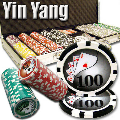 New 500 Yin Yang 13.5g Clay Poker Chips Set with Aluminum Case - Pick Chips!