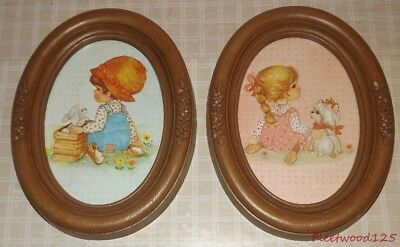 "Pair of 1982 Oval Plastic Wood Grain Style Homco Boy & Girl Pictures 8.5"" x 6.5"""