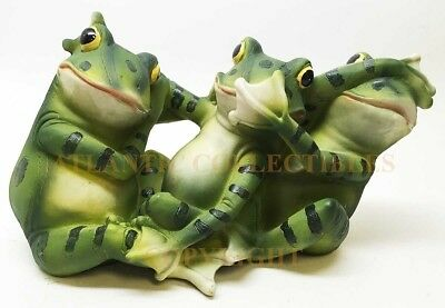 Three Green Frogs Toads See Hear Speak No Evil Figurine Statue Collectibles