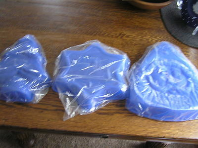 3 Holiday Christmas BLUE Silicone Cake /Jell-O /Treat Molds~Santa~Star~Tree~~NIP