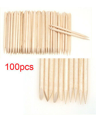 100Pcs Nail Art Cuticle Stick Pusher Remover Pedicure Manicure Orange Wood Tool