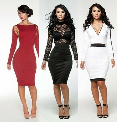 Sexy Women Hollow Lace DeepV Slim Bodycon Evening Party Cocktail Club Mini Dress