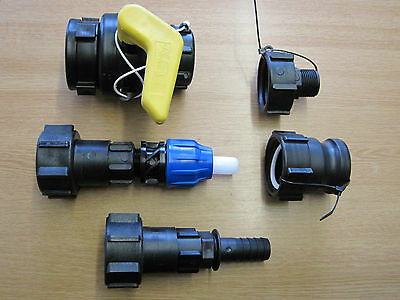 IBC Adaptor Tank To Hose Camlock MDPE Hoselock IBC Tap Valve Fitting New Fuel