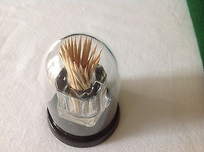 Unusual 3 Piece Tooth Pick Holder Black Glass Base with Dome - made in Japan