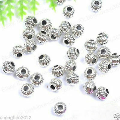 50pcs Tibetan Silver Charms Spacer Beads Jewelry Findings Making Bracelet