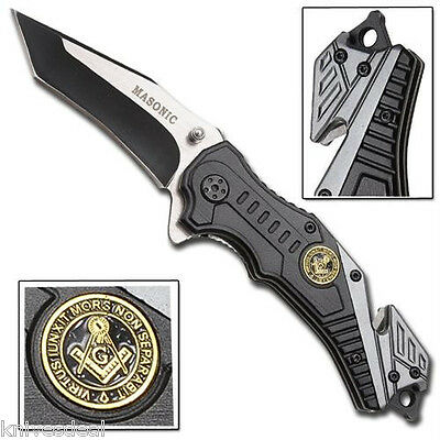 Tactical Rescue Spring Assisted Action Folding Knife 2 Tone Masonic Blade
