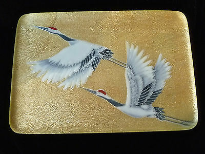 Vintage JAPANESE INABA CLOISONNE  PLATE w/ WHITE CRANES in presentation box