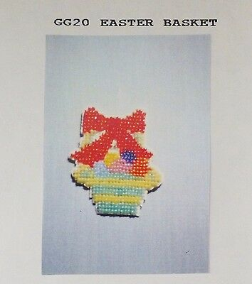Vintage Easter Basket Bead X-Stitch Pattern Pin Fridge Magnet Ornie Decoration