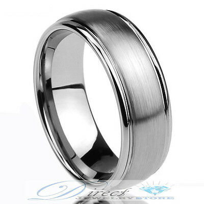 Men's Tungsten Carbide Grooves Wedding Band Brushed Ring 8mm Size 7.5 to 14.5