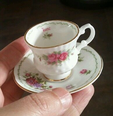 "English Hand Decorated Fine Bone China Minature Cup & Saucer ""June"" Roses"
