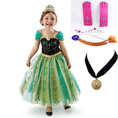 Girl Frozen Dress Disney Princess Queen Anna Party Birthday Costume size 2-7 Yrs