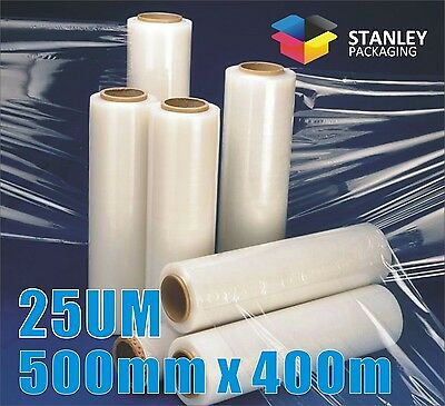 2 Rolls 500mm x 400m 25um Clear Hand Stretch Film Pallet Shrink Wrap Wrapping