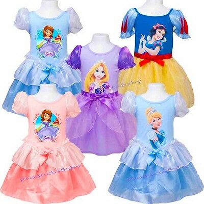 Girl Disney Princess Dress Sofia Snow White, Rapunzel Cinderella Costume size2-8