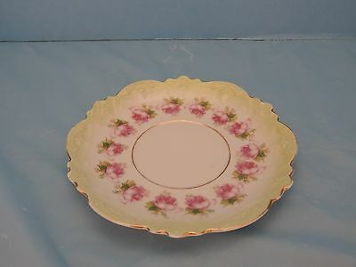 Saucer - White & Green With Roses - Marked MZ Austria & American Eagle