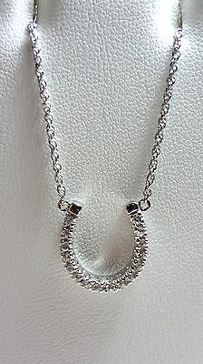 """925 Sterling Silver Clear Cubic Zirconia Horseshoe Pendant 18"""""""