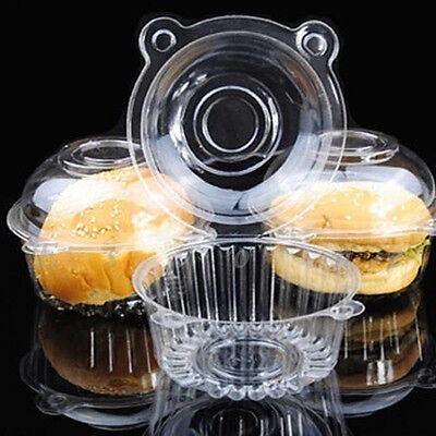 Clear Plastic Single Cupcake Cake Case 100/200 Muffin Dome Holder Box Container