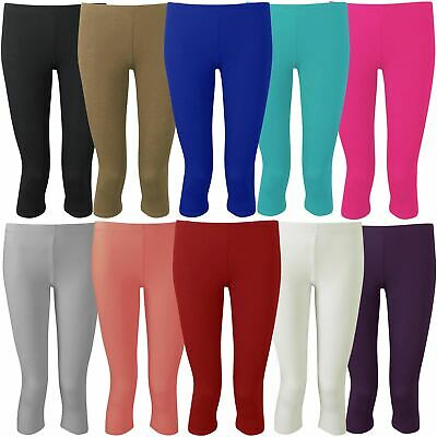 New Womens Plus Size Plain 3/4 Cropped Viscose Leggings 12-30
