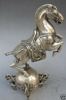 Chinese Silver Copper Statue Horse Station On Ball w Qing Dynasty Qianlong Mark