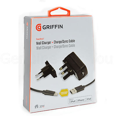 Griffin 2.1Ap Wall Mains UK/EU Plug Charger +Lightning Cable for iPhone 6/6 Plus