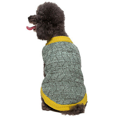 """Blueberry Pet Two-tone Marled Dog Sweater in Gray and Aquamarine Blue Mix 10"""""""